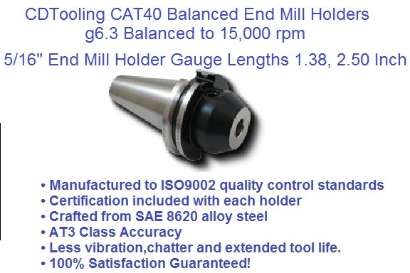 CAT40 5/16 (0.312), Gage Lengths, 1.38, 2.50 End Mill Holders G6.3