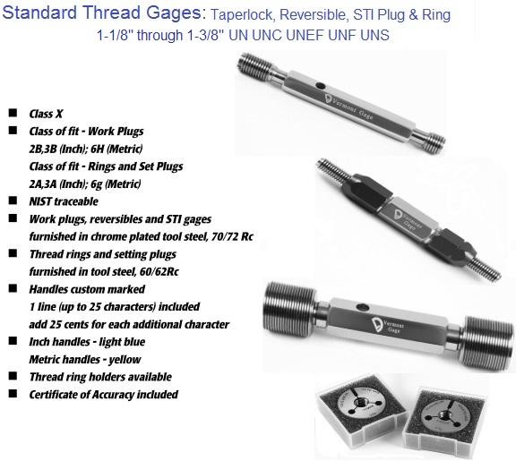 "Standard Thread Gages Work Plugs, Rings and Set Plugs 1-1/8"" to 1-3/8"" 2A 2B 3A 3B"