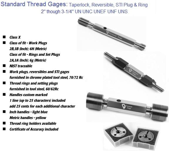 "Standard Thread Gages Work Plugs, Rings and Set Plugs 2"" to 3-1/4"" 2A 2B 3A 3B"