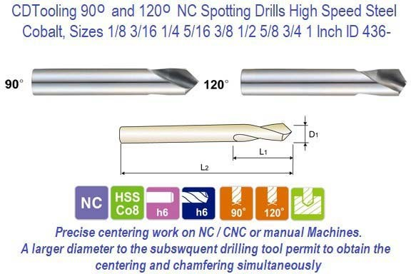 90 Degree and 120 Degree NC Spotting Drills High Speed Steel Cobalt, Sizes 1/8 3/16 1/4 5/16 3/8 1/2 5/8 3/4 1 Inch ID 436-