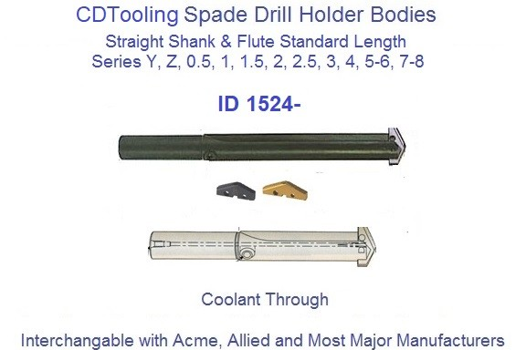 Spade Drill Holder Body Straight Flute Shank Standard Length 3/8  to 4-1/2 Inch Diameter ID 1524-