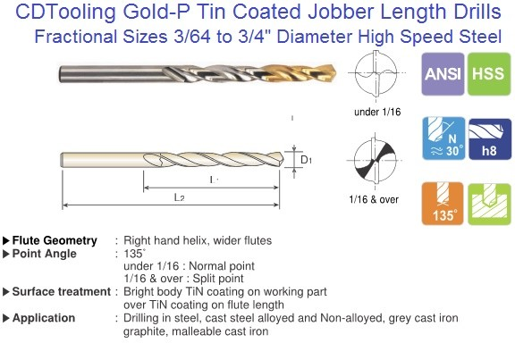 "Jobber Drill Fractional 3/64 to 3/4"" Gold P Tin Coated 135 Degree Split Point M2 HSS D1GP182, D8182 ID 449"