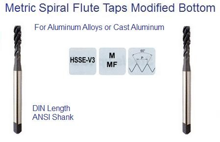 Spiral Flute Tap Modified Bottom For Aluminum Alloys and Cast Aluminum