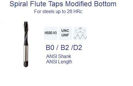 Spiral Flute UN Modified Bottom Taps ANSI Steels to 28 HRc