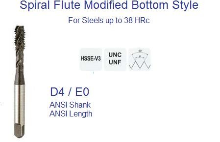 Spiral Flute Modified Bottom Tap UN ANSI for Steels up to 38 HRc