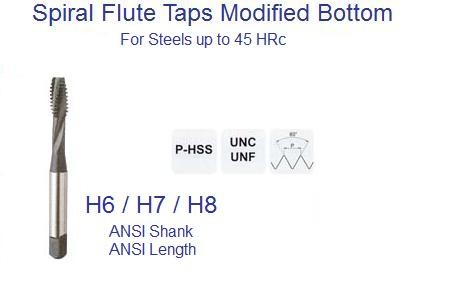 Spiral Flute UN Modified Bottom Taps Din and ANSI Steels to 45 HRc